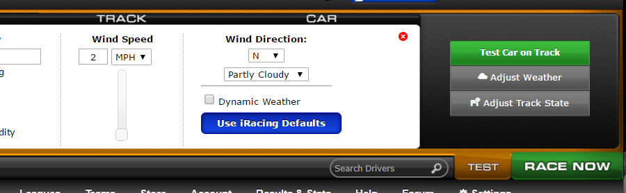Three steps to get here: click the orange 'Test' button, click 'Adjust weather', and click the blue 'use iRacing Defaults'.
