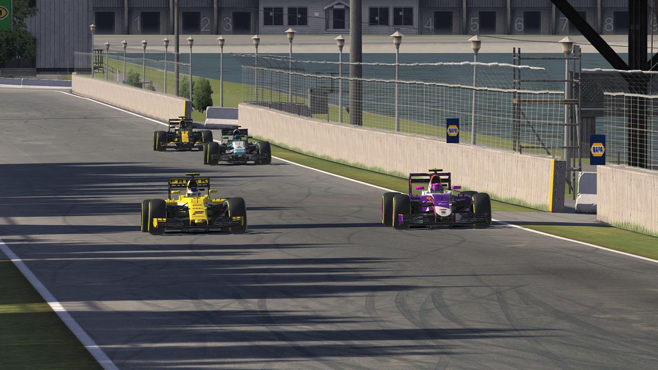 Mack Bakkum passing for the lead, en route to victory at Circuit Gilles Villeneuve.