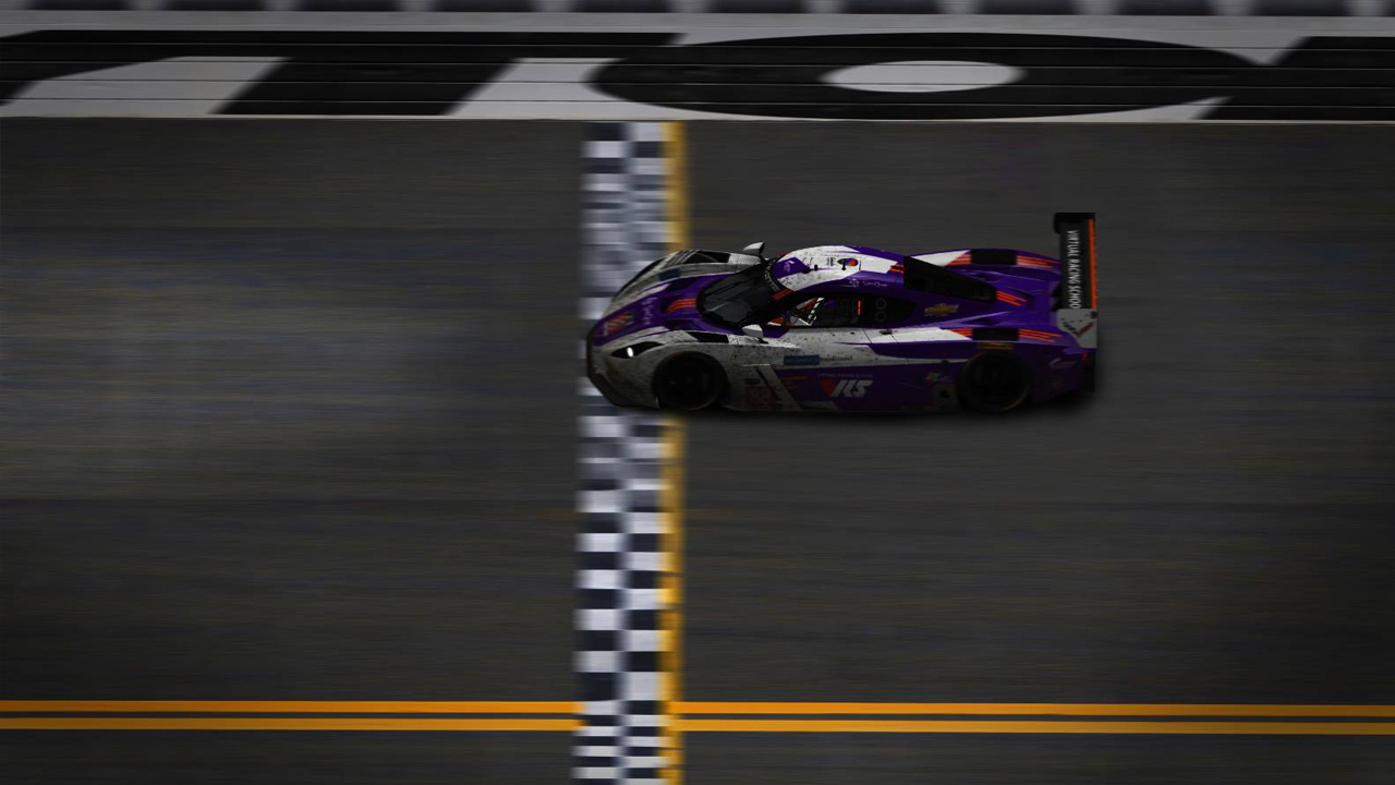 The #88 Coanda Daytona prototype crossing the line after 859 laps of racing at the 2017 24 Hours of Daytona. The car was driven by four different drivers.